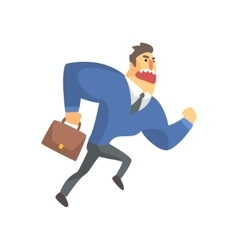 Businessman top manager in a suit running late vector