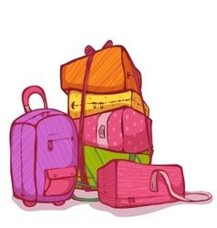 cartoon of color bags set vector image vector image
