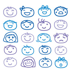 face kids draw emotion feeling icon vector image vector image