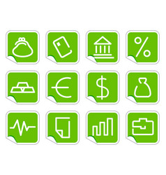 financial symbols on stickers vector image