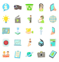 Geek icons set cartoon style vector