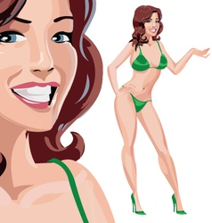 Girl in green bikini vector