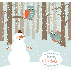 Greeting Christmas card snowman in the forest vector image vector image