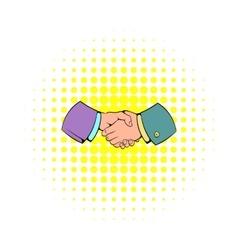 Handshake icon in comics style vector