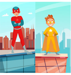 Kid superhero vertical banners vector