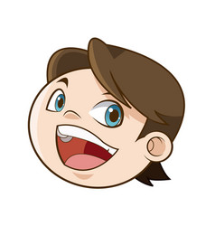 Laughing boy face kid happiness expression image vector