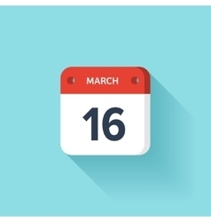 March 16 isometric calendar icon with shadow vector