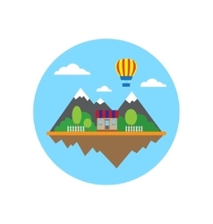 Mountains and building in circle vector image