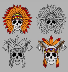 Native america skull mascot vector