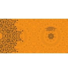 Orange greeting card with tribal ornament Flayer vector image