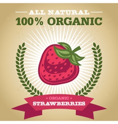 Organic Strawberry vector image vector image