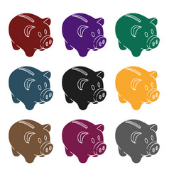 piggy bank icon in black style isolated on white vector image vector image