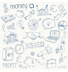 Set of business and money icons vector image vector image