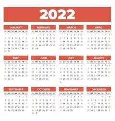 Simple 2022 year calendar vector