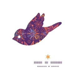 Textured christmas stars bird silhouette pattern vector