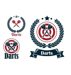 Three different darts emblems or badges vector image vector image
