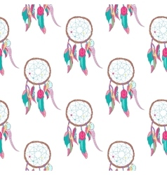 Traditional indian dreamcatcher seamless pattern vector image