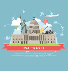 usa travel promotional poster with main famous vector image