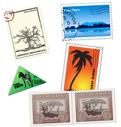 vintage african post stamps vector image