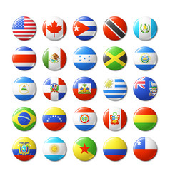 World flags round badges magnets north and south vector