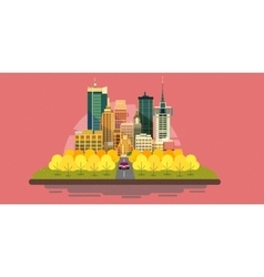 Autumn city landscape with buildingsYellow and vector image