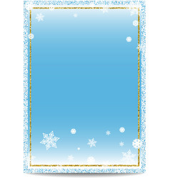 Winter vertical banner template with golden frame vector