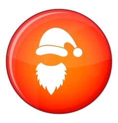 Cap with pompon of santa claus and beard icon vector