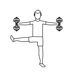 Athlete avatar character weight lifting icon vector