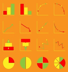 Applied graph color icons set vector