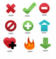 set of glossy icons vector image