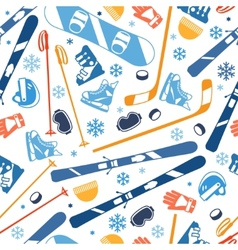 Winter sports seamless pattern with equipment flat vector