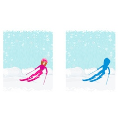 A young woman skiing down a snow covered mounta vector