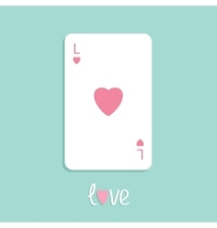 Poker playing card with heart sign love background vector