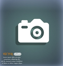 Photo camera icon symbol on the blue-green vector
