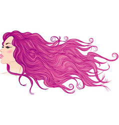 Profile of a girl with long flowing purple hair vector