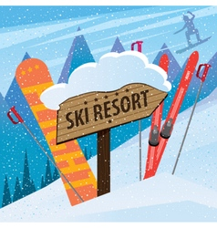Snow slope with skis snowboard and inscription vector