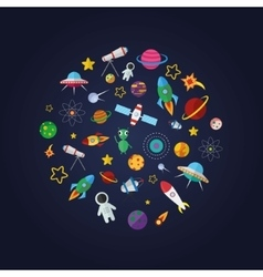 Flat design composition of space icons vector