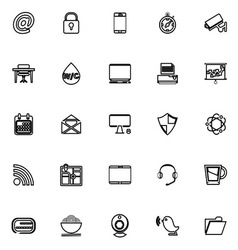 Internet cafe line icons on white background vector