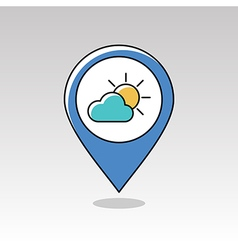 Sun and cloud pin map icon meteorology weather vector