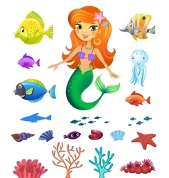 Set of sea inhabitants vector