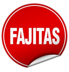Fajitas round red sticker isolated on white vector