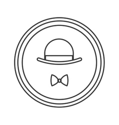 Hat and bowtie emble icon vector