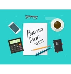 Business plan paper sheet on working table vector