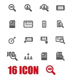 Grey job search icon set vector