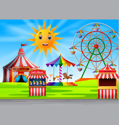 Amusement park scene at daytime with cute sun vector