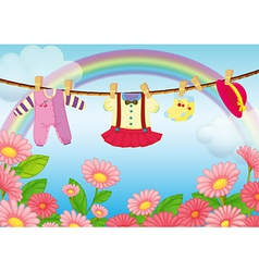Baby clothes hanging vector