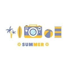 Beach Summer Holidays Symbols Set By Five In Line vector image