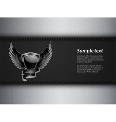 Black shield and sample text on leather and metal vector image vector image
