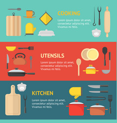 cartoon cookware banner horizontal set vector image vector image