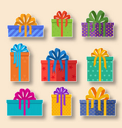christmas holiday gift stickers set on a light vector image vector image